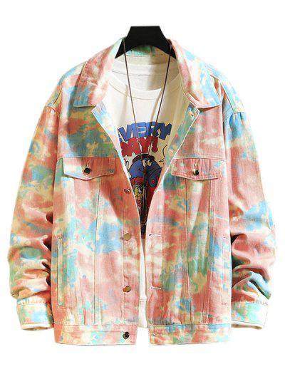 Faux Pocket Decoration Print Casual Jacket - Multi M
