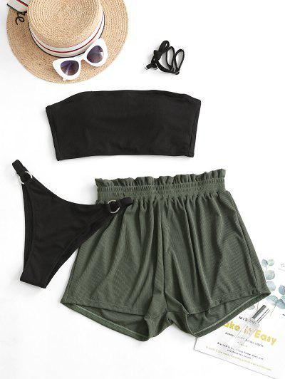ZAFUL Ribbed Lace-up Bandeau Three Piece Swimsuit - Black M