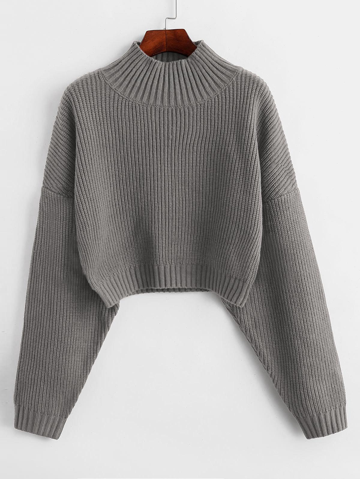 ZAFUL Drop Shoulder Mock Neck Plain Sweater, Gray