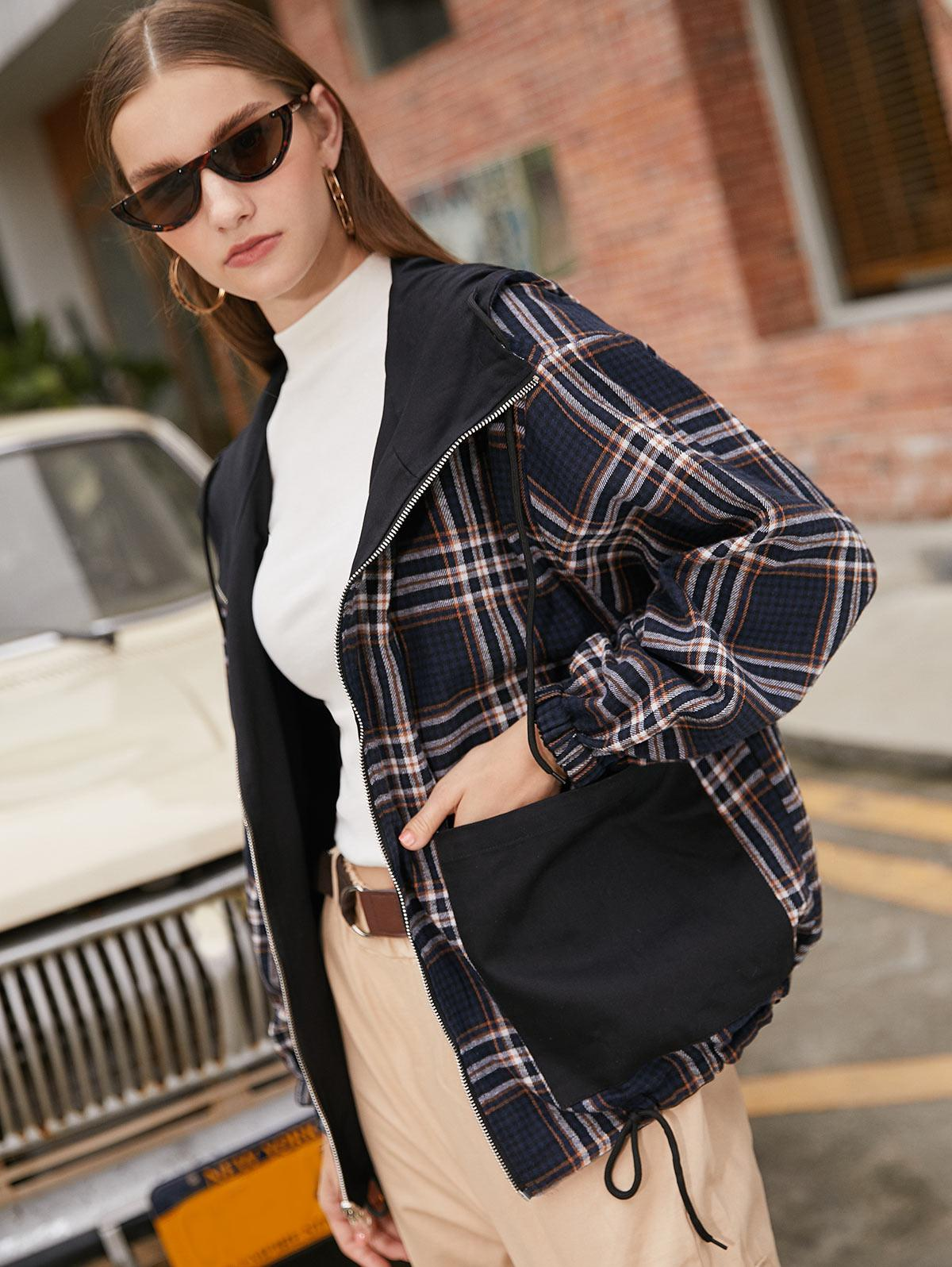Zip Up Pockets Reversible Plaid Hooded Jacket