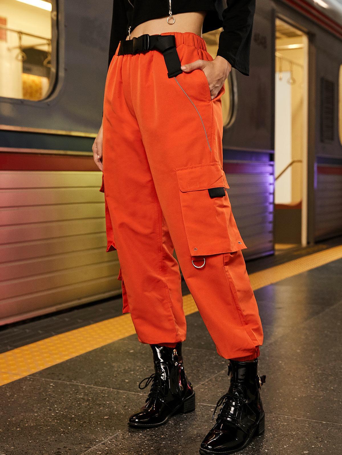 Reflective Piping Seatbelt Buckle Cargo Jogger Pants, Pumpkin orange