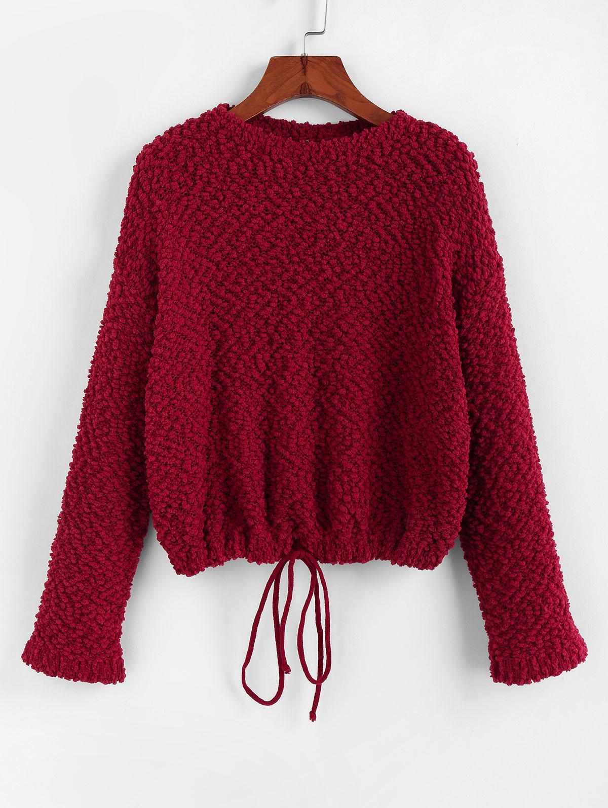 ZAFUL Popcorn Drop Shoulder Drawstring Hem Sweater