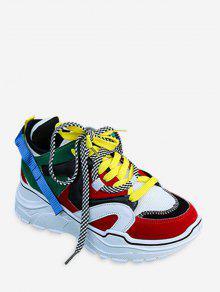 مزيج المواد اللون حجب أبي حذاء رياضة - أحمر الاتحاد الأوروبي 37