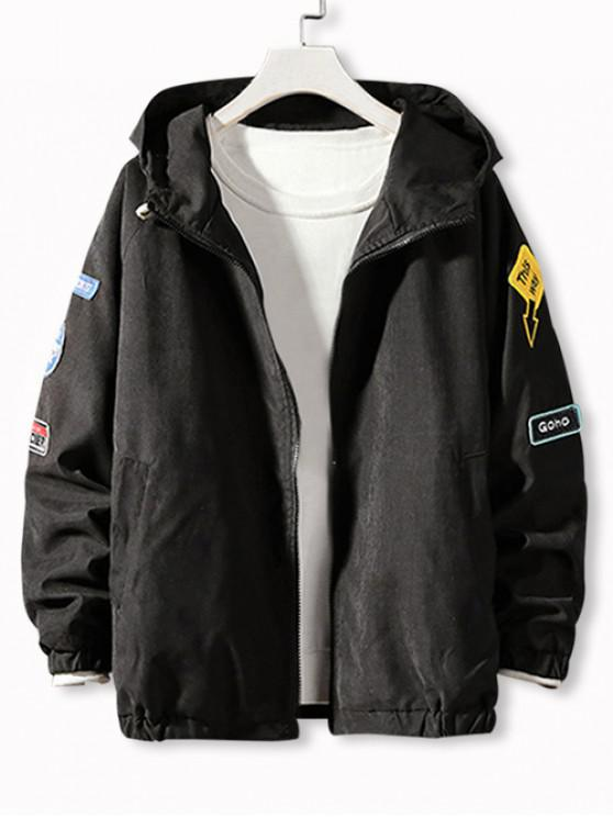 Вышивка буквы Аппликация Рукав регла С капюшоном Куртка - Чёрный L