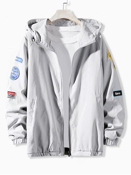 sale Letter Embroidery Applique Raglan SleeveHooded Jacket - LIGHT GRAY L