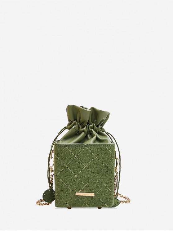 best Solid Rhombic Bucket Drawstring Shoulder Bag - DARK SEA GREEN