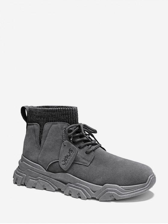 hot Plain Patch Sock Brushed Ankle Boots - GRAY EU 42
