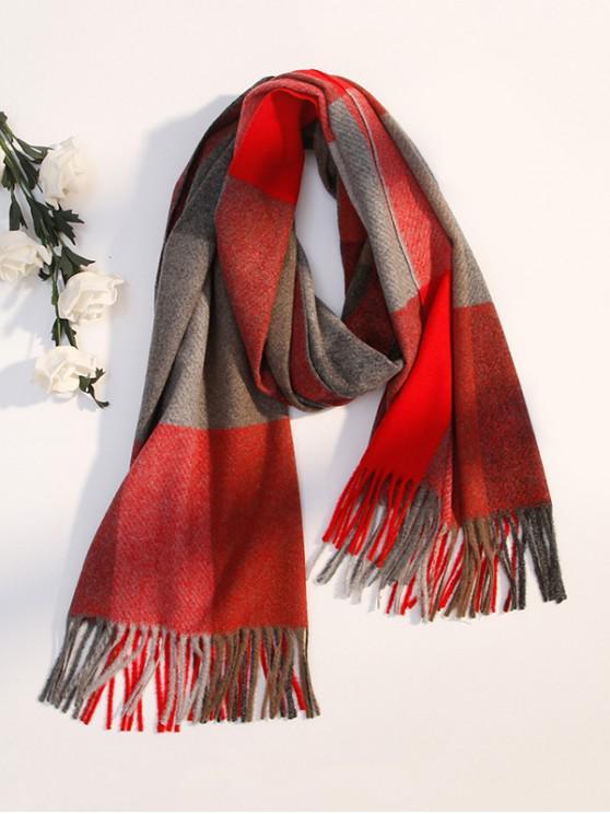buy Winter Plaid Pattern Fringe Scarf - RED