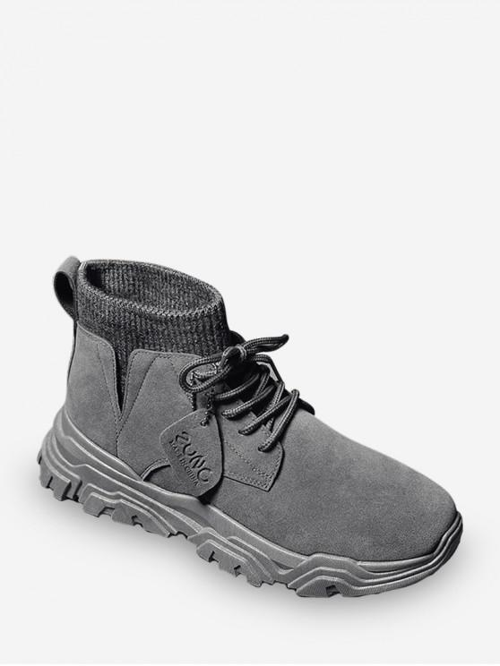 womens Plain Patch Sock Brushed Ankle Boots - LIGHT GRAY EU 40
