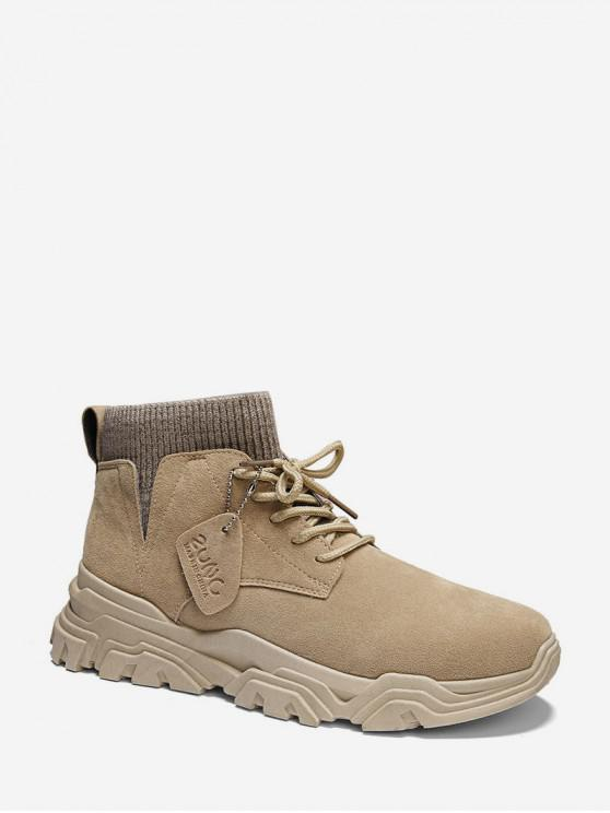 lady Plain Patch Sock Brushed Ankle Boots - BEIGE EU 44