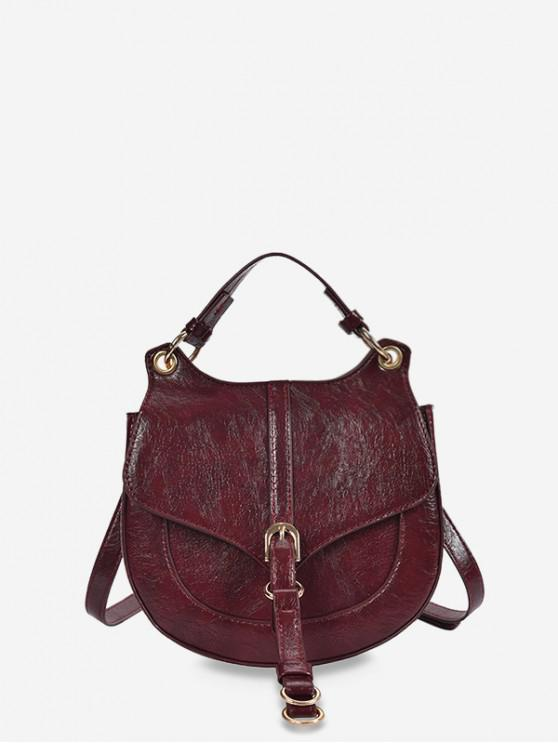 women Solid Color Top Handle Saddle Crossbody Bag - RED WINE