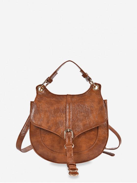 ladies Solid Color Top Handle Saddle Crossbody Bag - BROWN