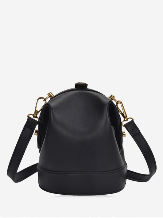lady Solid Small Shoulder Bag - BLACK