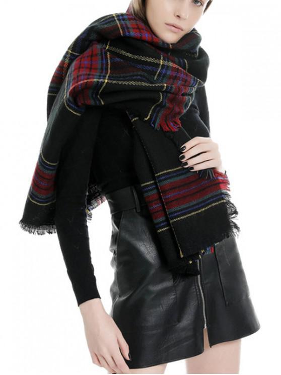 De la tela escocesa de la bufanda con flecos - Negro Regular