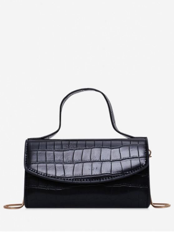 hot Square Embossed Shoulder Bag - BLACK