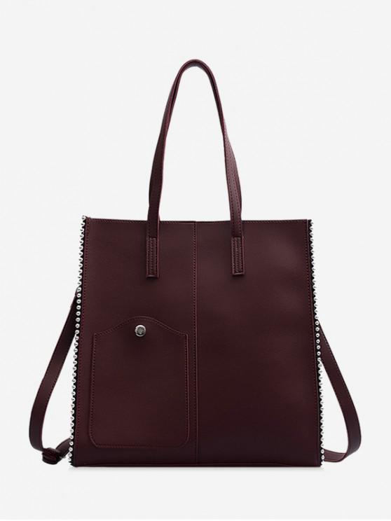 shops Beaded Trim Large Capacity PU Leather Shoulder Bag - BROWN