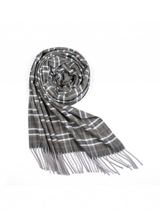 fashion Plaid Herringbone Fringe Long Scarf - HAZEL GREEN REGULAR