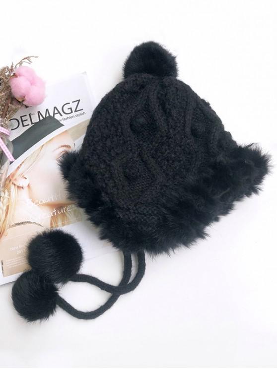 chic Knitted Faux Fur Bobble Ear Hat - BLACK