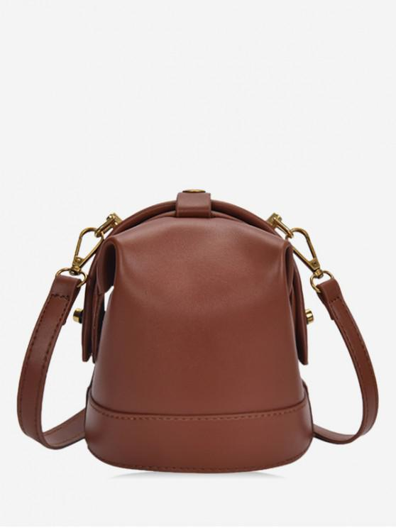 fancy Solid Small Shoulder Bag - BROWN