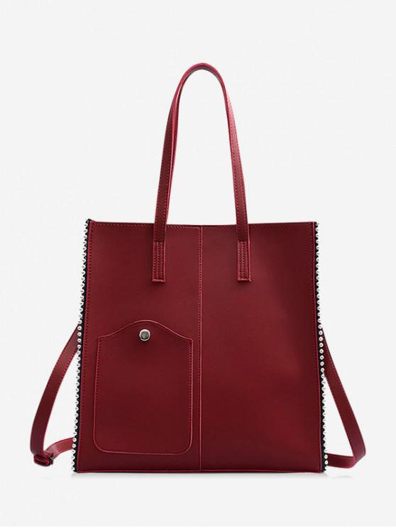 unique Beaded Trim Large Capacity PU Leather Shoulder Bag - RED