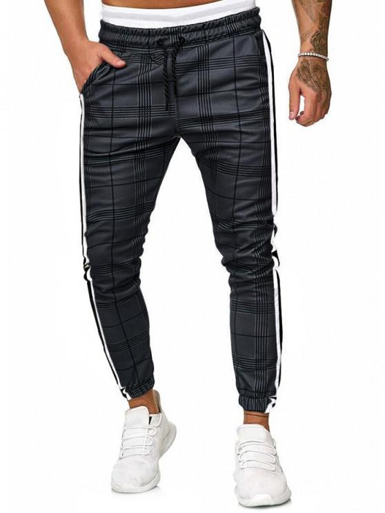 fashion Plaid Print Contrast Striped Drawstring Jogger Pants - GRAY M