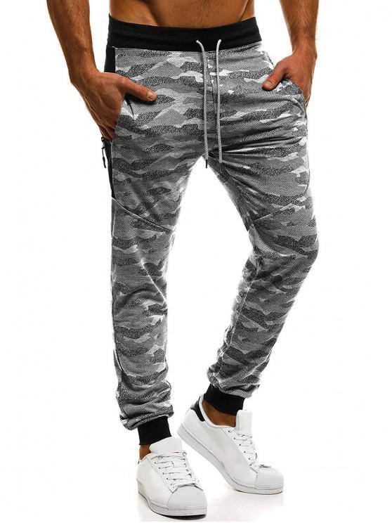 chic Camouflage Print Zipper Embellished Drawstring Jogger Pants - GRAY M