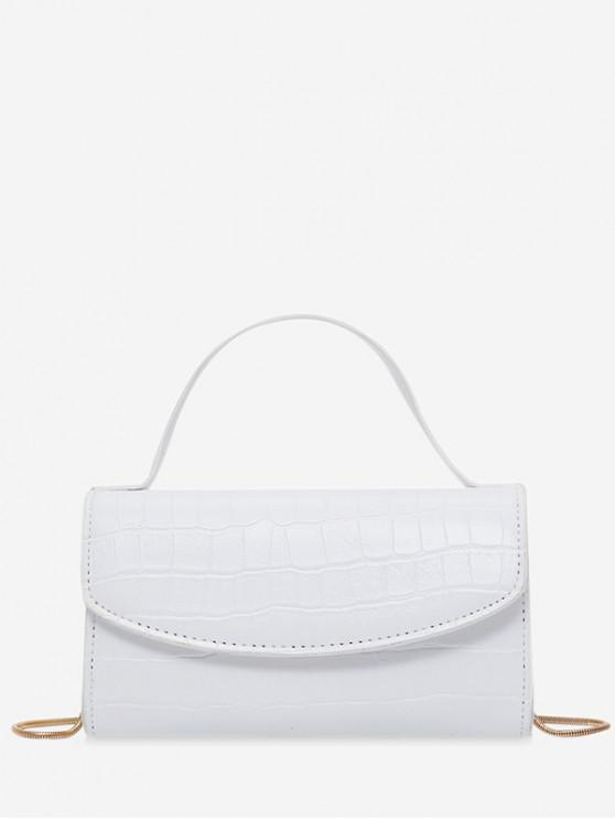 hot Square Embossed Shoulder Bag - WHITE