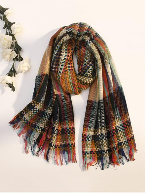trendy Fringe Plaid Zigzag Long Scarf - ARMY GREEN