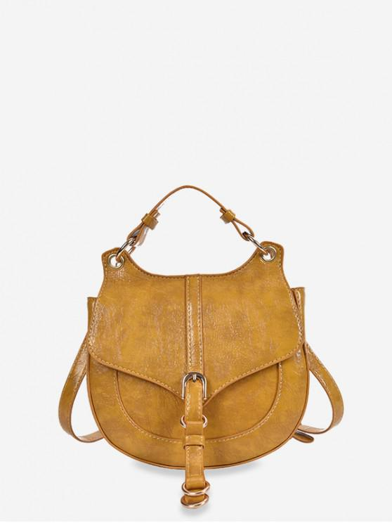 chic Solid Color Top Handle Saddle Crossbody Bag - YELLOW