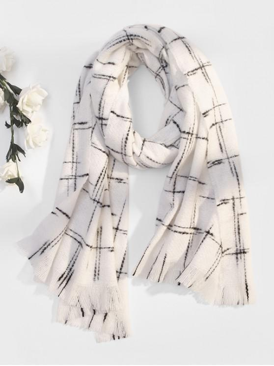 affordable Fringe Plaid Cross Pattern Long Scarf - WHITE