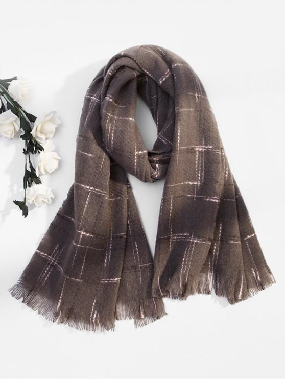 fancy Fringe Plaid Cross Pattern Long Scarf - GRAY
