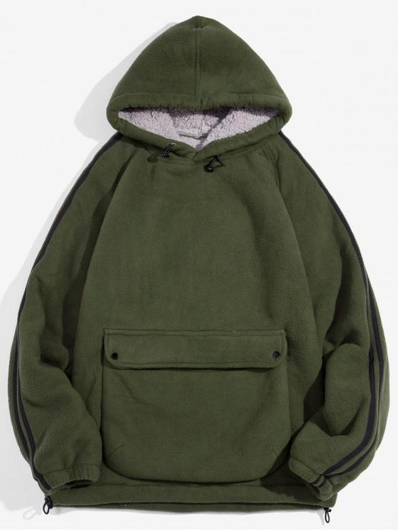 ladies Solid Color Pocket Design Fluffy Hoodie - ARMY GREEN M