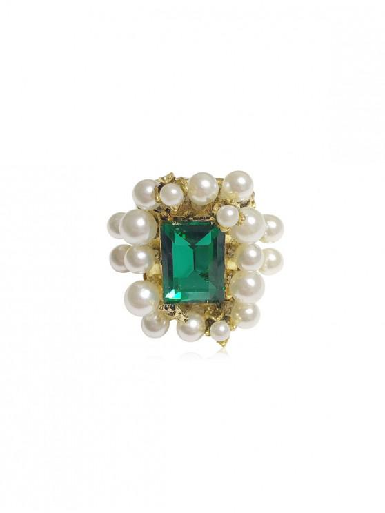 women's Geometric Faux Gem Pearl Ring - DEEP GREEN