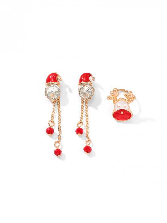 ladies Santa Long Chain Elk Ear Cuff Earring Set - GOLD
