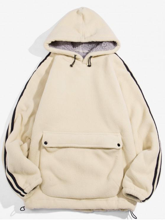 Color sólido diseño del bolsillo con capucha mullida - Blanco Cálido L
