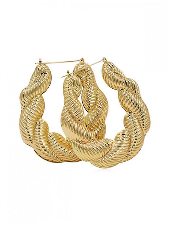 fashion Oversized Alloy Twist Hoop Earrings - GOLD