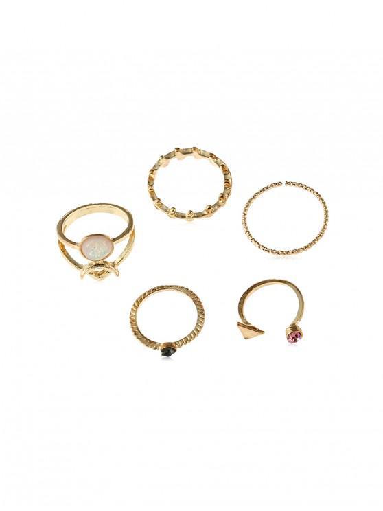 sale 5Pcs Leaf Triangle Ring Set - GOLD