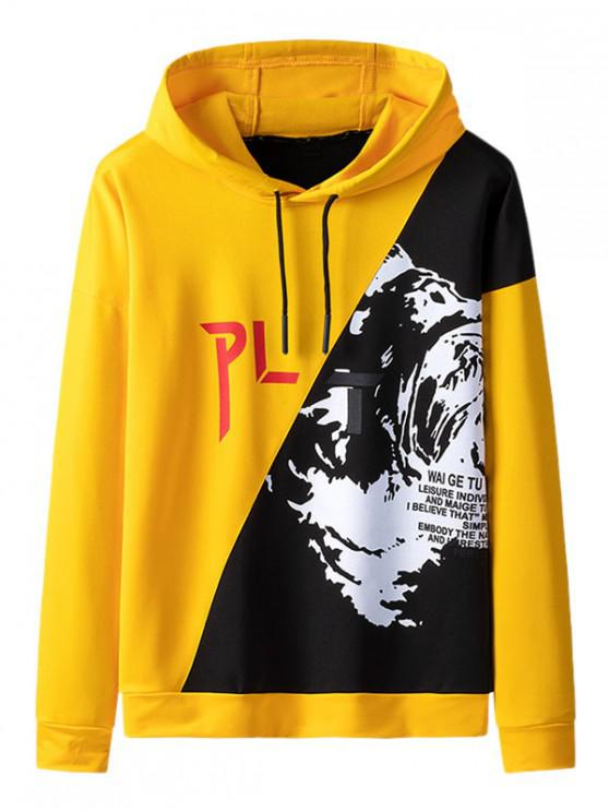 chic Graphic Pattern Colorblock Drawstring Hoodie - YELLOW L