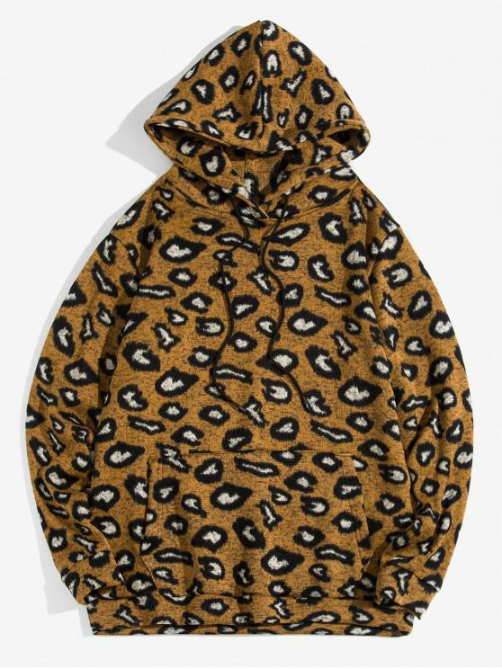 fashion Leopard Pattern Pocket Decorated Casual Hoodie - LEOPARD 2XL