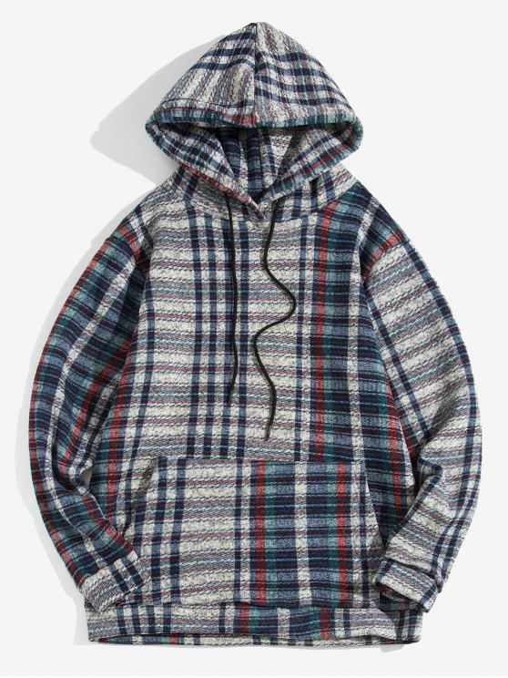 women Plaid Pattern Casual Pocket Design Hoodie - BLUE XL