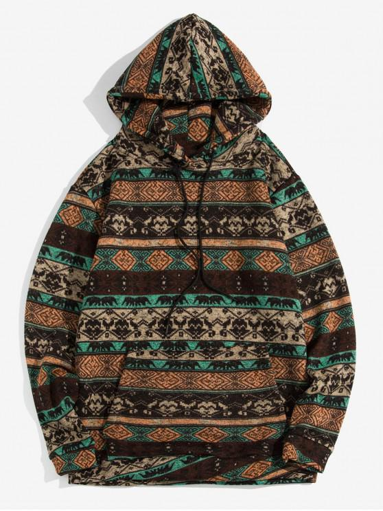 unique Tribal Print Kangaroo Pocket Hoodie - COFFEE XL
