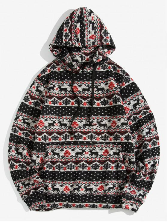womens Christmas Wapiti Pattern Casual Hoodie - BLACK XL