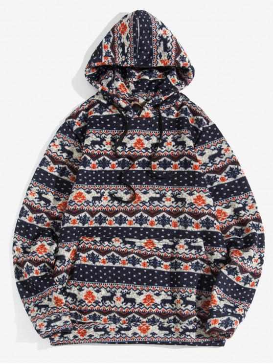 Weihnachten Wapiti Muster-beiläufige Hoodie - Cadetblue L