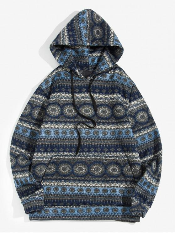 fashion Tribal Pattern Drawstring Casual Hoodie - CADETBLUE L