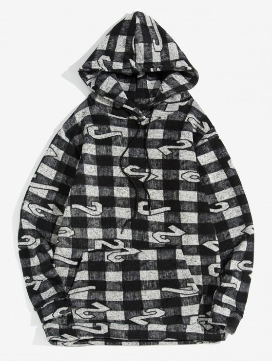 fancy Plaid Figure Pattern Leisure Hoodie - BLACK L