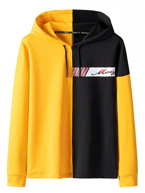 ladies Color Spliced Letter Printed Drawstring Hoodie - YELLOW XS