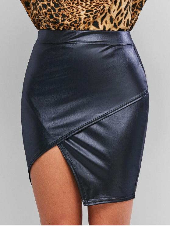 fancy Faux Leather Tight Asymmetrical Skirt - CADETBLUE S