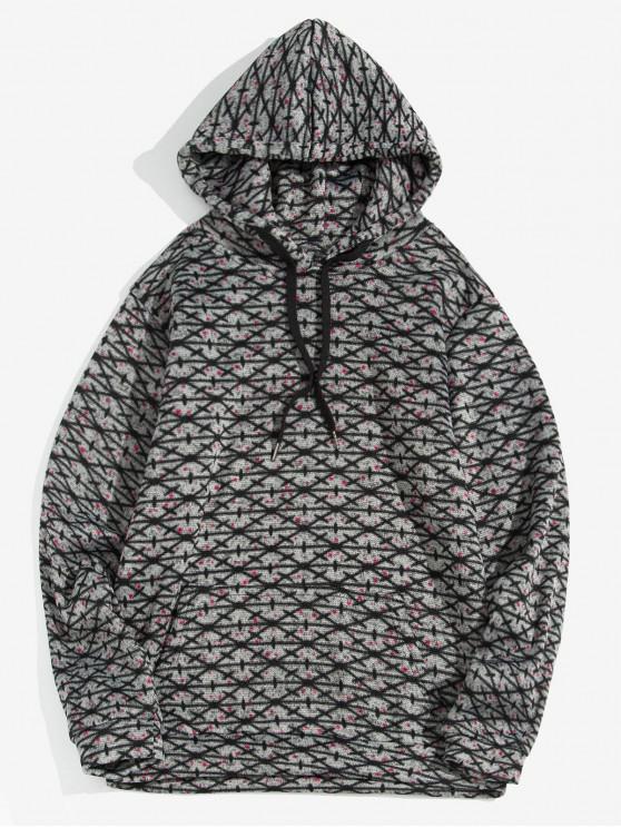women's Cross Pattern Kangaroo Pocket Casual Hoodie - DARK GRAY L