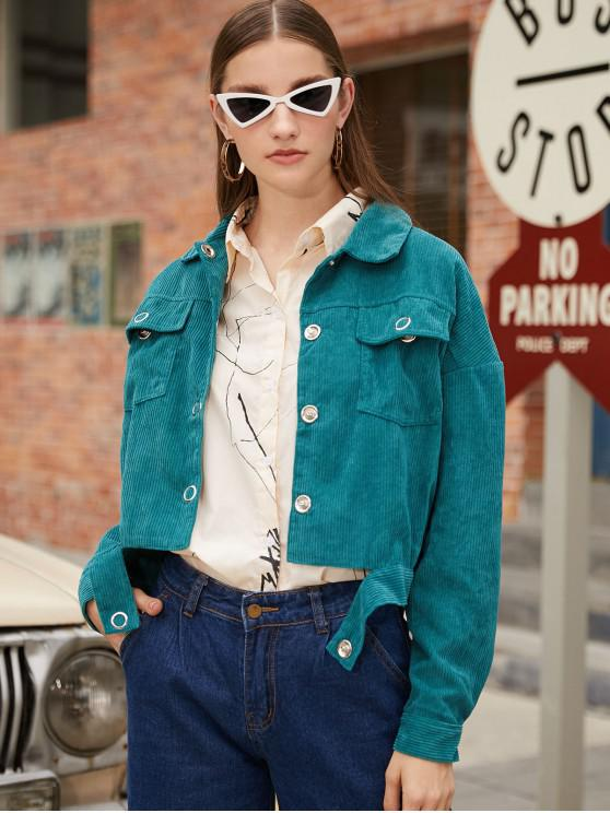 outfit Snap Button Studded Corduroy Jacket - DARK GREEN L