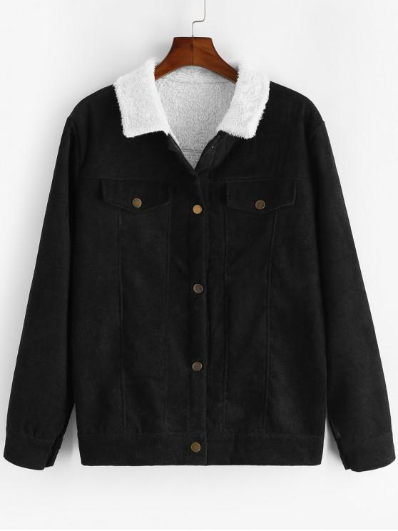 Sólido chaqueta de piel falsa Cordón mullido - Negro 2XL